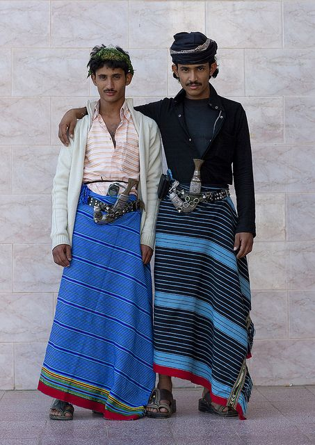 """Flower Men from Asir - Saudi Arabia.  Habala (Arabic:حلبة) is a small mountain village in the 'Asir province of Saudi Arabia. It was originally inhabited by a tribal community known as the """"flower men"""" because of their custom of wearing garlands of dried herbs and flowers in their hair. In the past, the village was only accessible by rope ladder -- the name Habala comes from the Arabic word for rope."""
