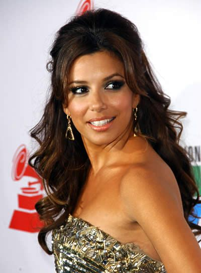 Bridesmaid Wedding Half Updo For Prom | Eva Longoria's half updo is perfect party hair. It looks pulled ...