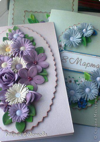 Felicitare lucrata manual floricele