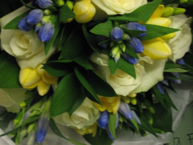 Fresh flower bouquet of white roses, with yellow freesia and blue gentians and foliages.