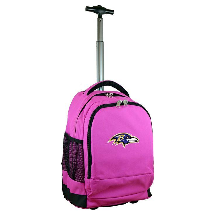 NFL Baltimore Ravens Premium Wheeled Backpack - Pink https://www.fanprint.com/licenses/baltimore-ravens?ref=5750
