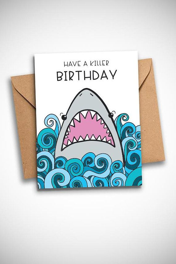 Shark Birthday Card Blue Ocean Theme Printable Funny Birthday