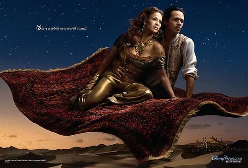 "Jennifer Lopez, posed as Jasmine and husband Marc Anthony as Aladdin from Disney's ""Aladdin,"" travel over the Arabian desert in a piece called ""Where a Whole New World Awaits,"" by Annie Leibovitz for the Disney Dream Portraits"