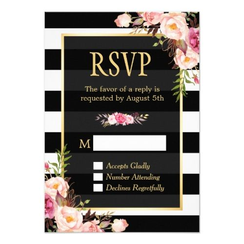 Pink Wedding RSVP Cards Vintage Floral Wrapping B&W Stripes RSVP Reply Card