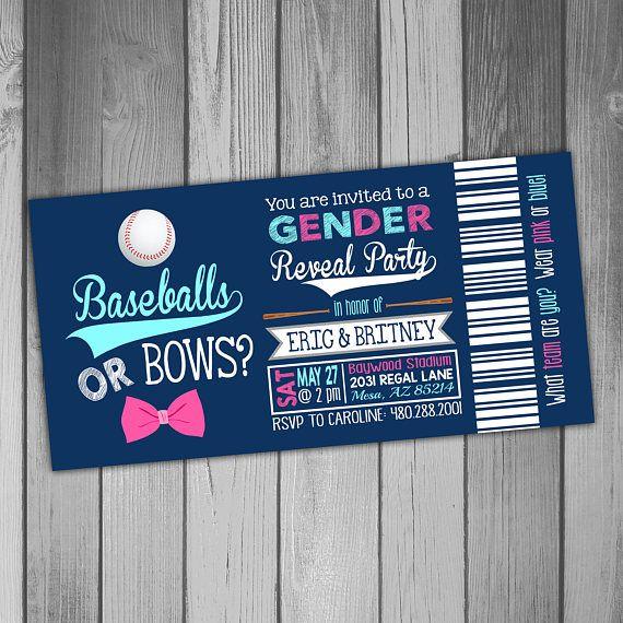 Baseball Gender Reveal Invitation Gender Reveal Party