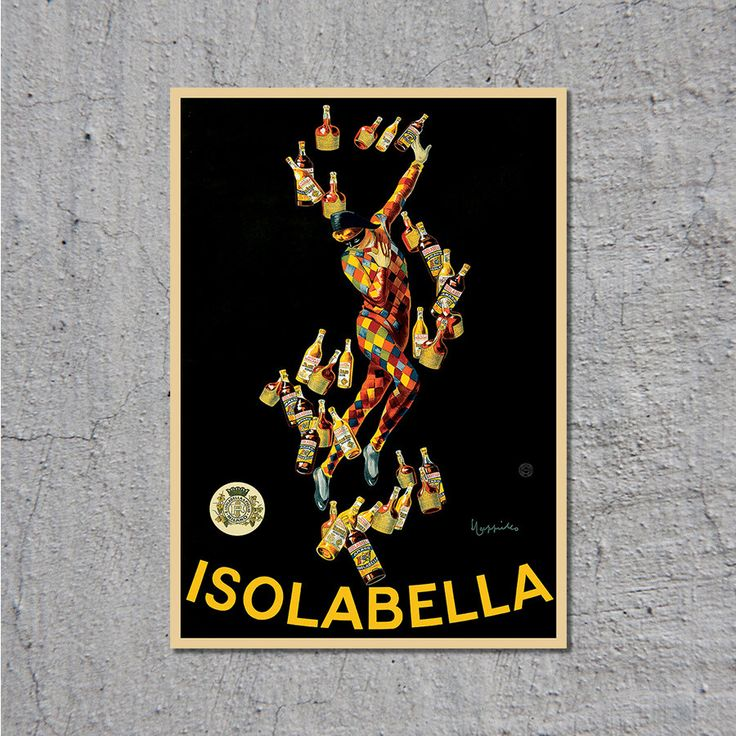 1910 Isolabella - Liqueur, Beer, Wine and Spirits - Vintage Poster // Leonetto Cappiello // High Quality Fine Art Reproduction Giclée Print by TheRetroPoster on Etsy