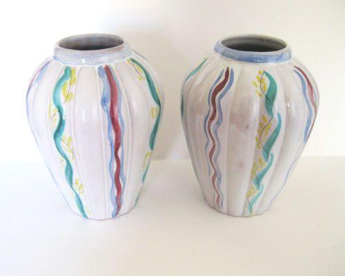 Pair Arabia Finland ARA Kurt Ekholm Hand Painted Studio Pottery Vases, 1930s