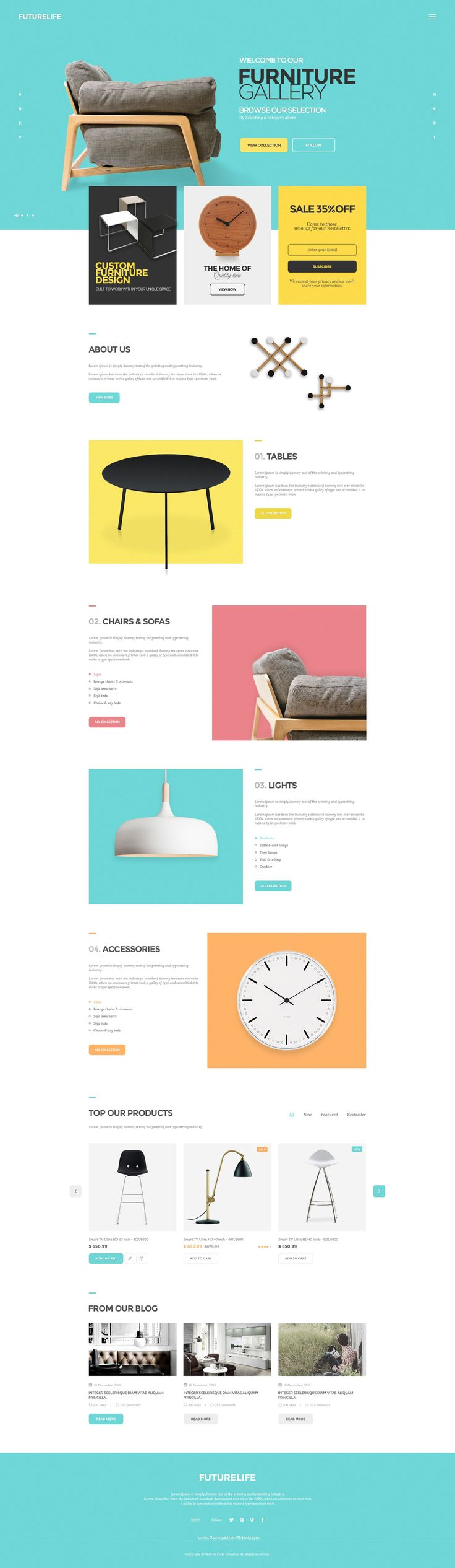 Futurelife – Ecommerce PSD Template is a uniquely eCommerce website template designed in #Photoshop with a modern look. Perfect for furniture or #interior shop.