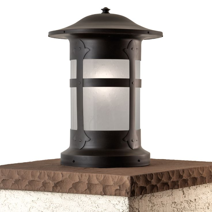 Holly Series Column Mount in Architectural Bronze Finish and Frosted Seedy Glass.