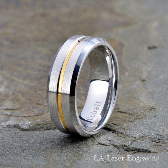 Cobalt Wedding Band Cobalt Wedding Ring 18K by LALaserEngraving