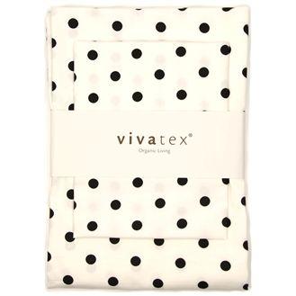 Øko sengetøj baby - hvid/sort dot Dejlig, smukt og klassisk økologisk sengetøj til babydynen. Blødt og dejligt, og i en kvalitet, der holder.