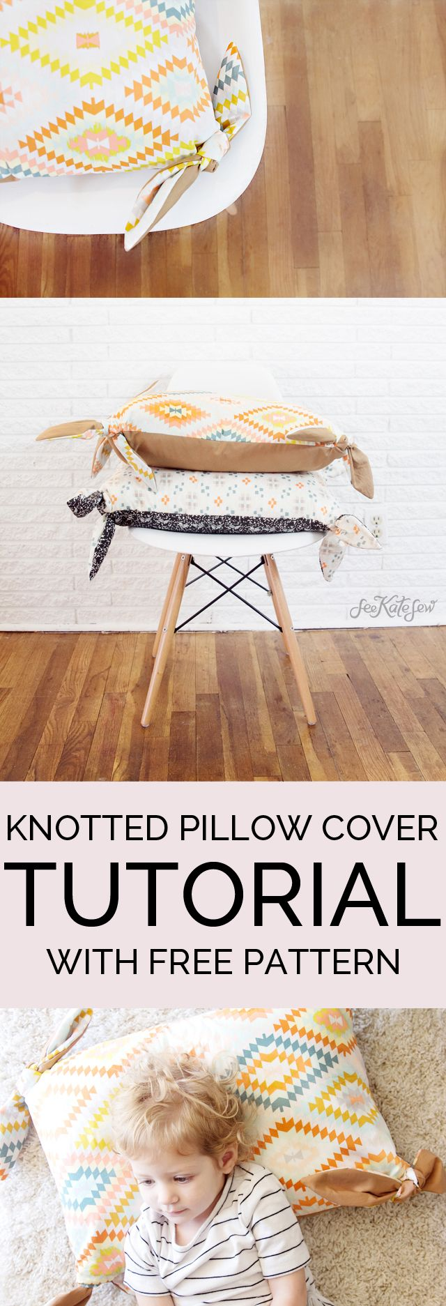 Two Tone Knotted Pillow Cover Tutorial With Wanderer Fabric. Sewing Pillows Diy PillowsPillow IdeasTutorial ...
