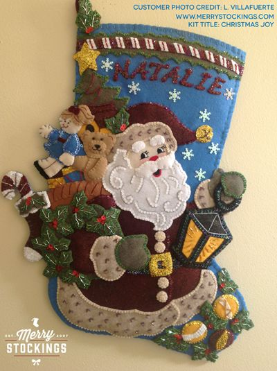 "Customer photo of completed Bucilla Christmas stocking kit - Christmas Joy. Customer enlarged kit to 28"". Nice work!!!"