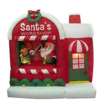 BZB Goods Christmas Inflatable Santa Workshop Decoration