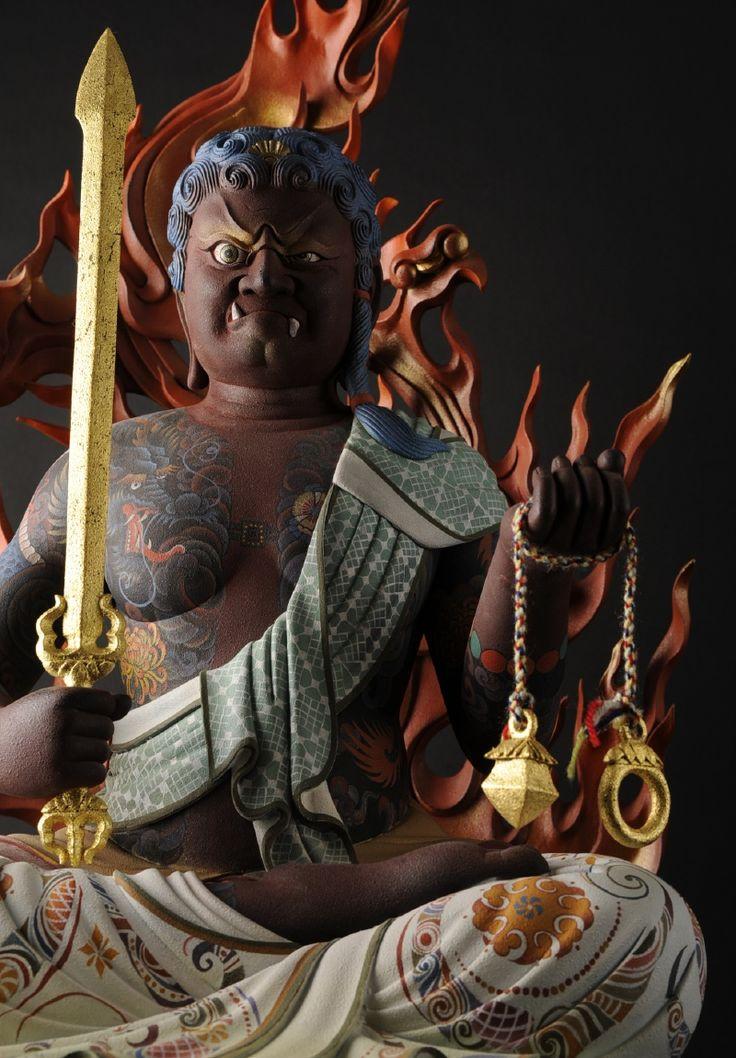 Fudô Myoo (ou Acala, o destruidor da ilusão e o protetor do budismo), deidade do budismo, o mais conhecido dos Cinco Reis da Sabedoria do Reino do Ventre