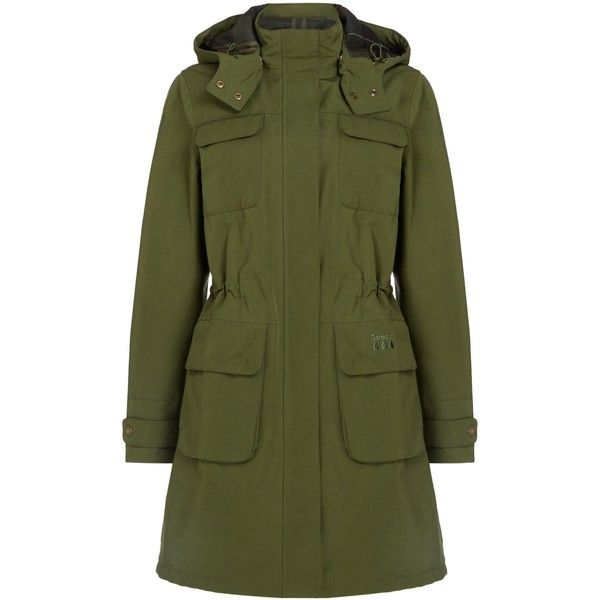 Barbour Velum Hooded Jacket (17.190 RUB) ❤ liked on Polyvore featuring outerwear, jackets, women coats & jackets, green hooded jacket, barbour jacket, barbour, green jacket and hooded jacket