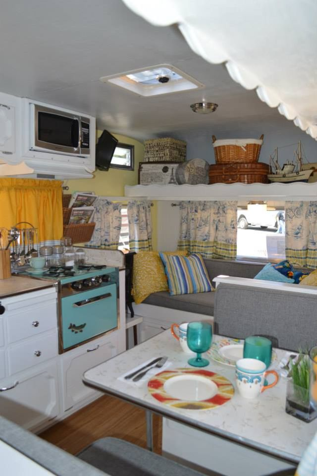 Vintage Camper - beautiful interior--I like the white cabinets and the…