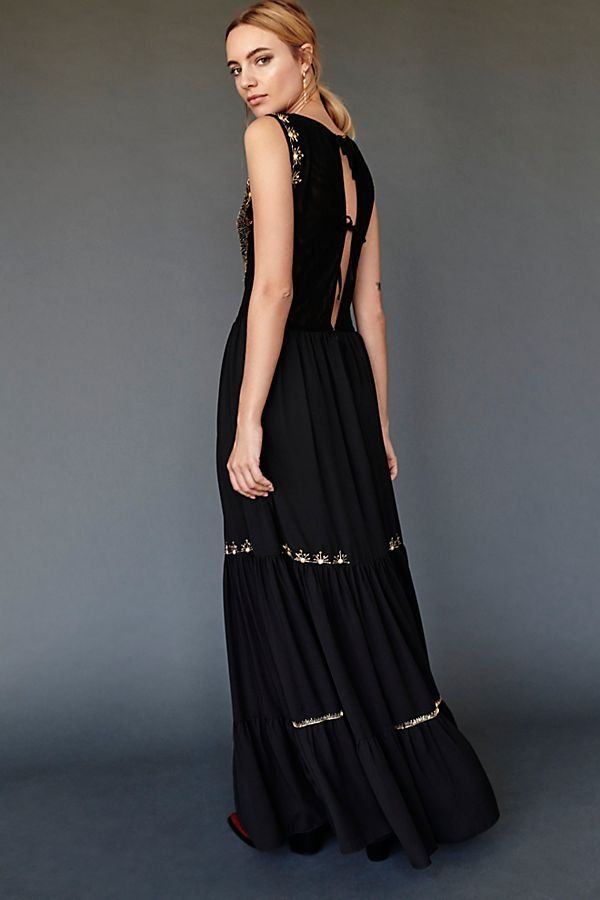 0446d85fb47 Angel Maxi Dress - Black Sleeveless Maxi Dress with Tiered Embroidery and  Statement Brocade Embroidered Chest Detail - Feminine Dresses - Party  Dresses ...