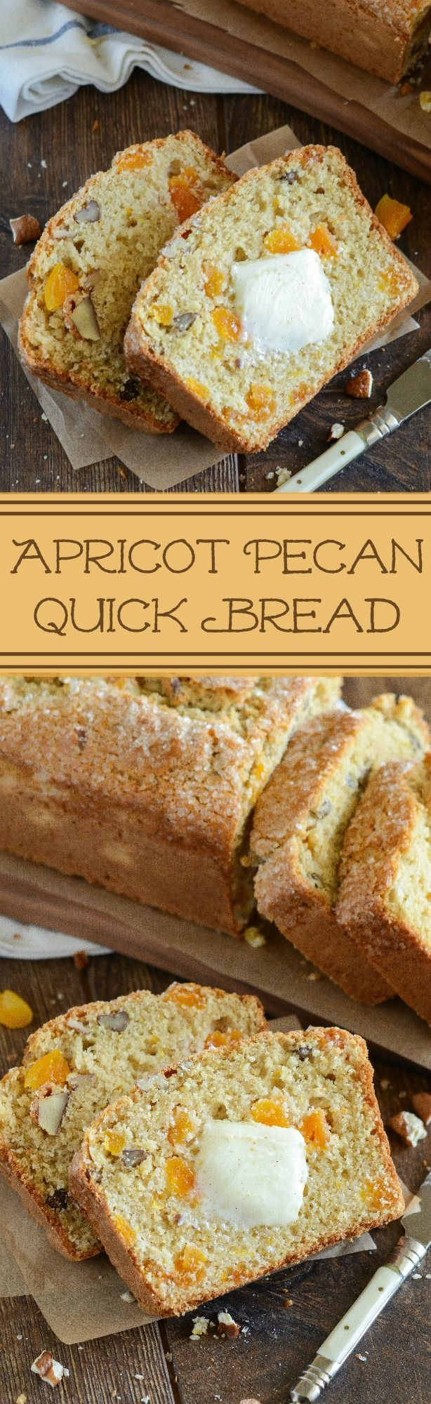 Apricot Pecan Bread! Easy buttermilk quick bread loaded with pecans, dried apricots and orange zest!! Yum!! Recipe by the novice Chef featured on dixiecrystals.com !