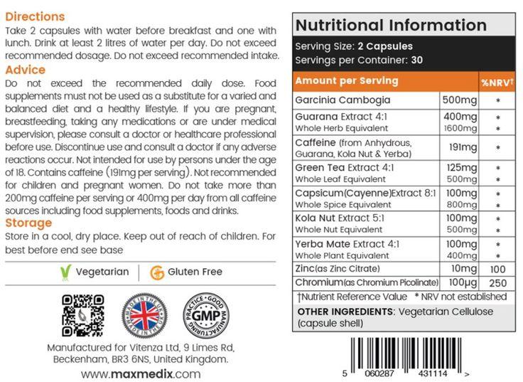 Garcinia Cambogia Plus Nutritional ingredients label.