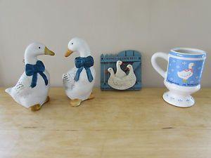 Country Geese Decor Blue Cream Home Rustic Farm Kitchen Shelf Fridge  Miniatures | EBay
