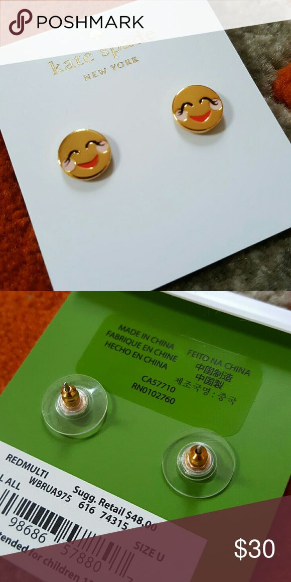Kate Spade Blushing Emoji Earrings Gold tone Blushing Emoji stud earrings. Brand new!! kate spade Jewelry Earrings