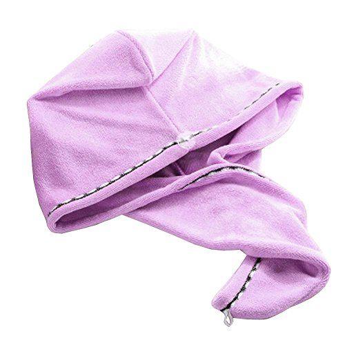 Bath Towel Hair Dry Hat Cap Hair Drying Towel Lady Bath Tool Light Purple * undefined #HairDryingTowels