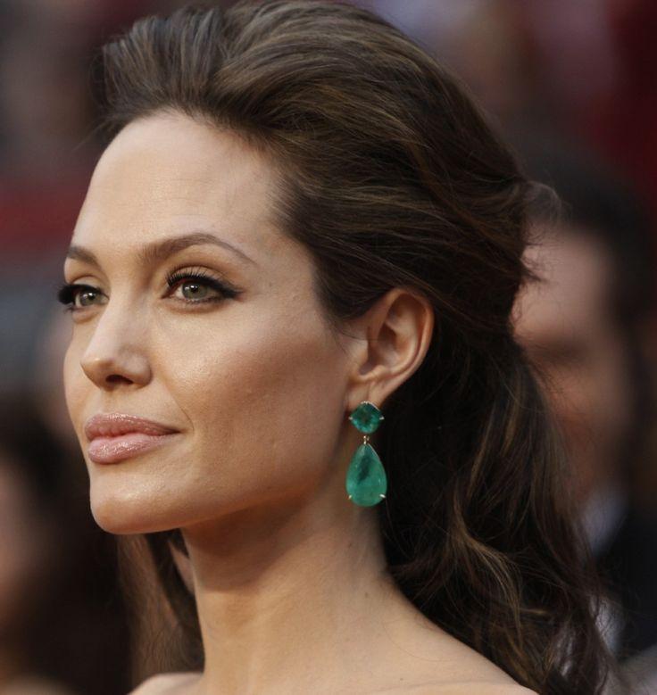 EarringsEmerald Earrings, Cat Eye, Down Hairstyles, Angelina Jolie, Hair Makeup, Home Decor, Statement Earrings, Emeralds Earrings, Angelinajolie
