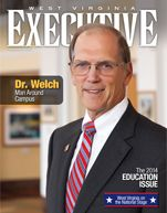 The 2014 Education Issue from West Virginia Executive magazine, featuring Dr. Ed Welch, the University of Charleston president as the cover story.