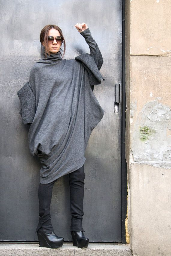 Oversize Dark Grey Loose Casual Top / Asymmetric Raglan by Aakasha