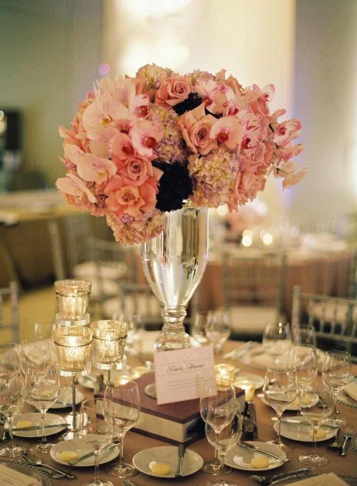 Pink centerpieces paris themed quinceañera pinterest