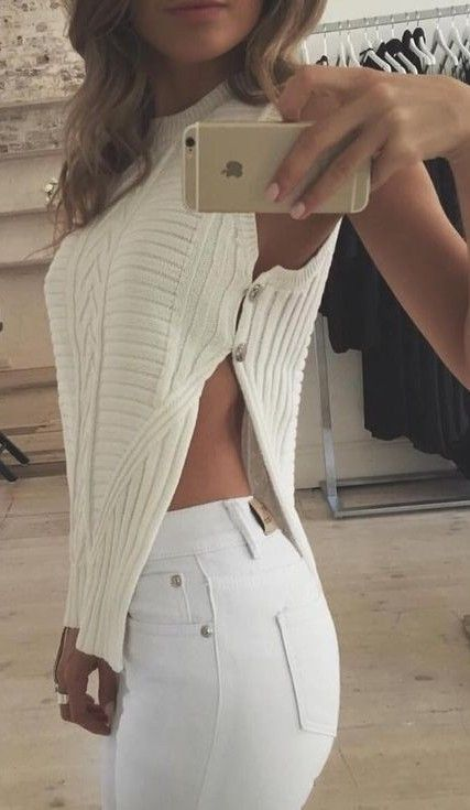 #summer #runawaytheabel #outfitideas | White Sexy Knit Top