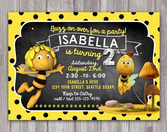 Maya the Bee Invitation for Birthday Party  DIY by WonderAndWishes