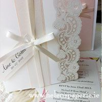 Rose Lace Vintage Inspired invitation by Helen's Paperie