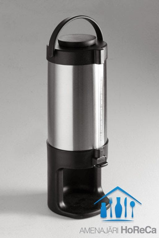 TERMOS DISPENSER  Termosuri profesionale, import Olanda  Termos Dispenser cu peretii dubli din otel inoxidabil pastreaza bauturile reci sau fierbinti, temperatura ramane constanta; Dimensiuni termos dispenser - 3 litri, Ø168 x (H) 456 mm, Potrivit pentru cesti sau pahare cu inaltimea de max. 11 cm;  Cu indicator de umplere;  Usor de curatat; Foarte usor de transportat, datorita manerului;