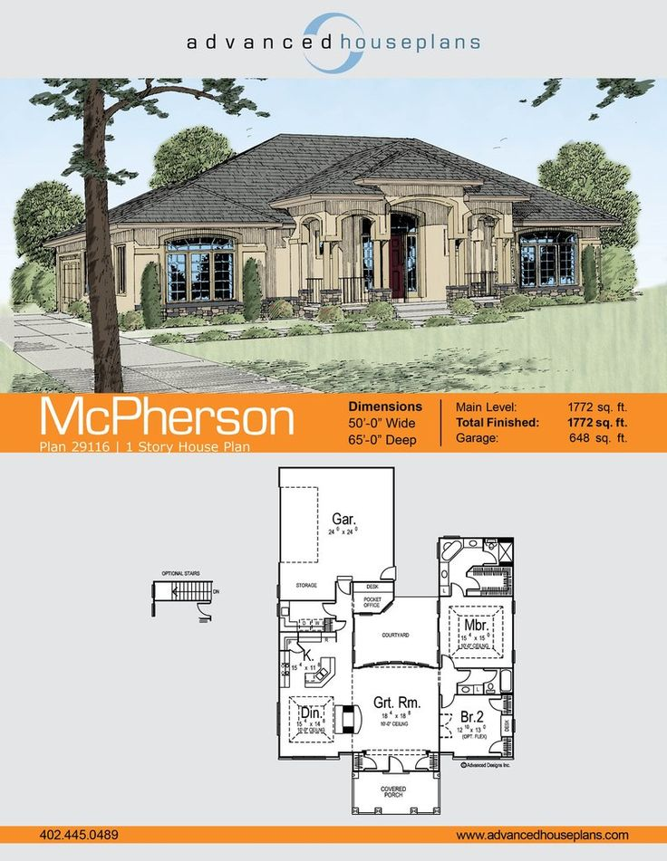 McPhersonis a 1 StoryMediterranean house plan with an open kitchen and dining area and a small office overlooking a courtyard. There is also extra storage in