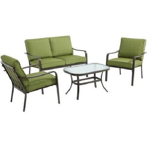 Outdoor Patio Conversation Set Green 4 Piece Loveseat Sofa Chairs Table Cushions #Mainstays