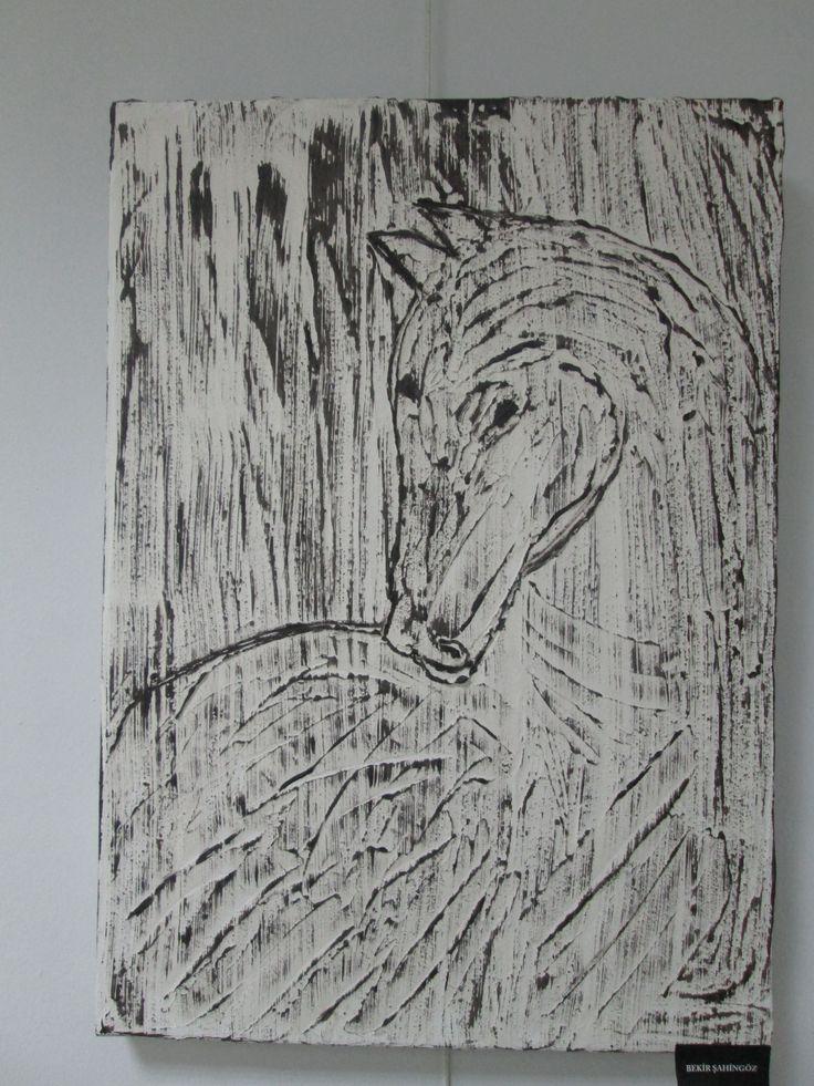 Alçı-Akrilik boya-AT...Plaster-Acrylic paint-Horse..- BURSA