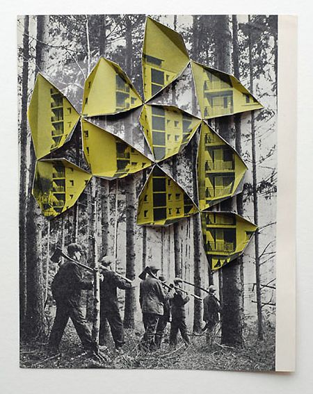 Abigail Reynolds created this piece by cutting into an old image of a forst, and folding pieces out to reveal parts of the recent photo of the forest, underneath. They have been used in guide books and atlases as well as exhibitions.
