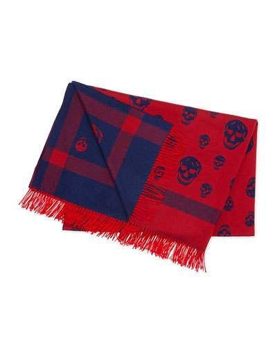 Alexander+Mcqueen+Wool+Skull+Print+Blanket+Blue+Red+Belt+ +Accessory
