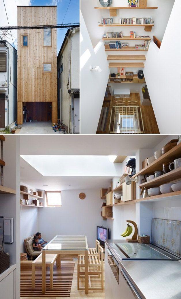 Com 36 metros quadrados, essa casa fica no Japão, e conta com garagem para 1 carro no primeiro andar, sala e cozinha no segundo, e dois quartos estreitos no terceiro piso. As janelas na frente e nos fundos da casa permitem que a luz entre, fazendo com que ela não fique claustrofóbica.
