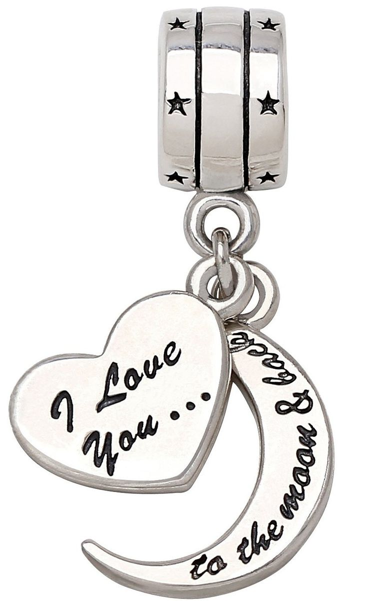 """ALOV Jewelry Sterling Silver """"I Love You To The Moon and Back"""" Two-Piece Pendant Bead Charm For Valentine's Day Gift ,Mother's day, Christmas Gift: Amazon.co.uk: Jewellery"""