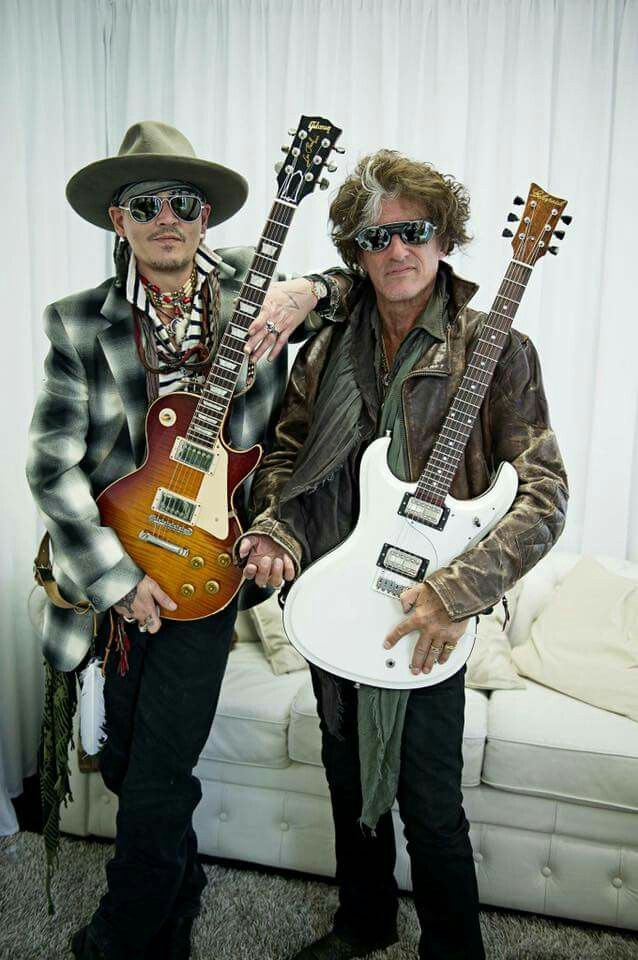Johnny Depp and Joe Perry  hanging out before The Hollywood Vampires Rock in Rio Lisboa sound check