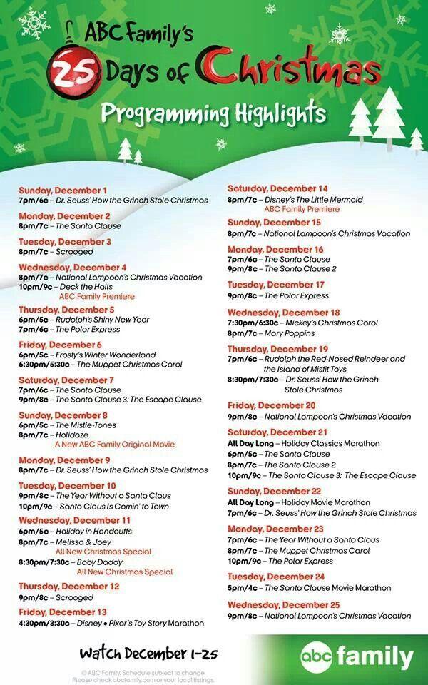 ABC Family Christmas Movie Scedule 2013 | Christmas ...