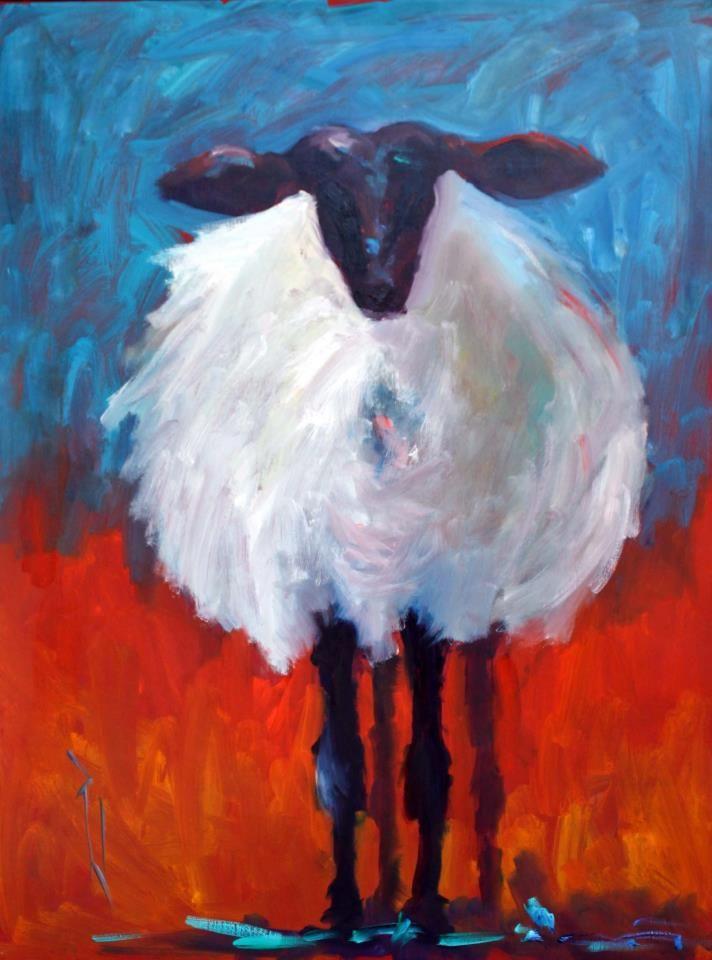 Sheep Portrait, Paula Jones oil painting