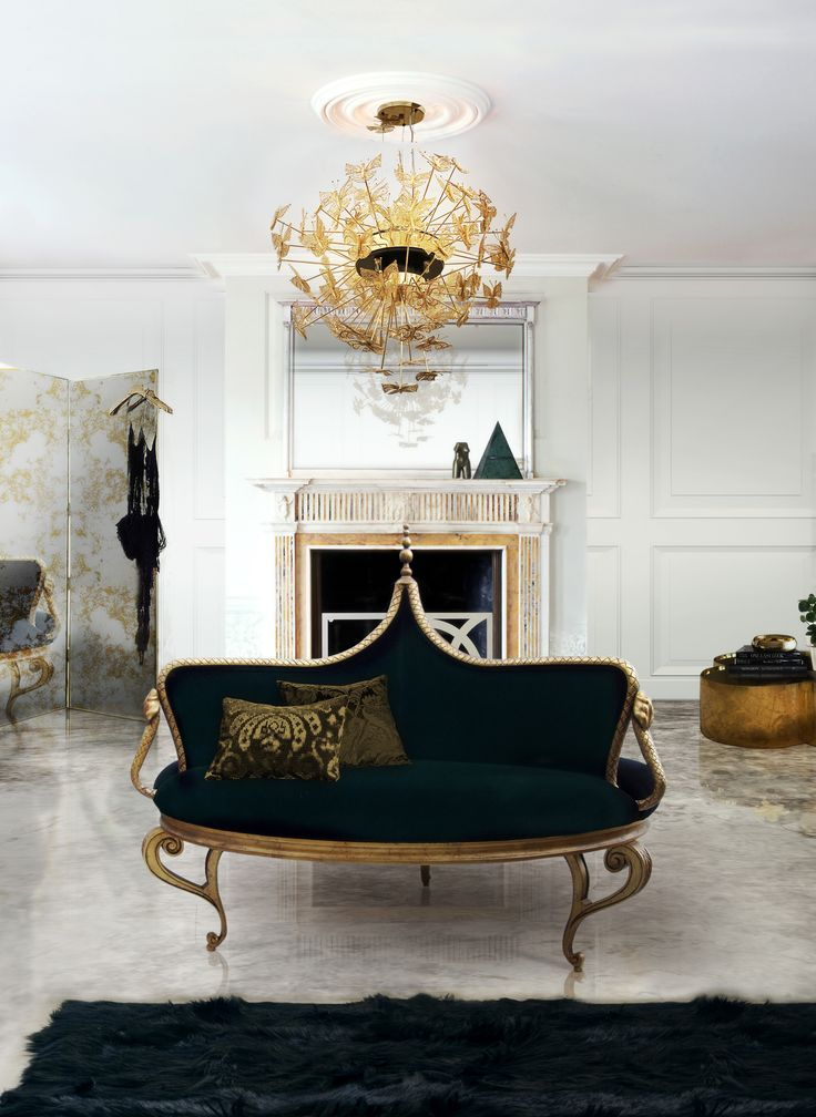 Making a statement on the ceiling is the luxury chandelier Nymph with delicate brass butterflies hover in the air. It pairs with the art deco Mistress Confidante. A glamorous interior design you can see at Maison et Objet 2017. http://www.bykoket.com/projects/Jeddah-Residence-Saudi-Arabia.php