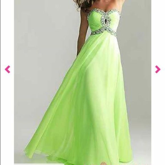 Lime green Prom dress Long, strapless. Lime green  with silver  MAKE ME AN OFFER!!  Prom Girl Dresses Strapless