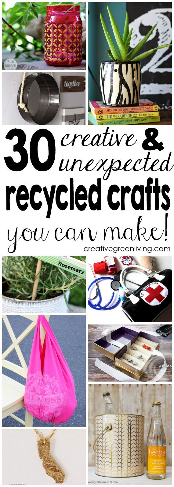 There are so many creative and unique recycled craft ideas in this post! I love the apron and mirrored wall hanging the most.