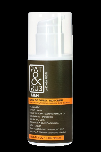 PAT & RUB Face Cream for Men  Regenerates and protects, quickens skin healing. Protects from premature aging. 100% eco-certified ingredients