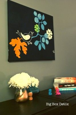 Very striking DIY wall art using canvas frame and fabric!